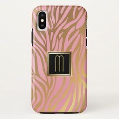 Gold Monogram Pink Tiger Stripe Pattern iPhone X Case - classy gifts vintage diy ideas