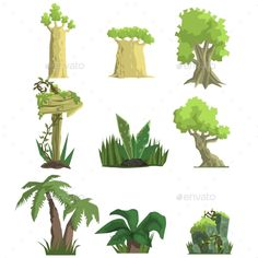 Download Free Graphicriver Tropical Forest Landscape Elements #arrow #baobab #cartoon #collection #element #flat #flora #game #geography #green #jungle #landscape #nature #outdoor #palm #pile #plants #road #rock #set #shapes #sign #terrain #tree #tropical #tropics #trunk #vegetation #video #wooden