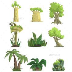 Download Free Graphicriver Tropical Forest Landscape Elements #arrow #baobab #cartoon #collection #element #flat #flora #game #geography #green #jungle #landscape #nature #outdoor #palm #pile #plants #road #rock #set #shapes #sign #terrain #tree #tropical #tropics #trunk #vegetation #video #wooden