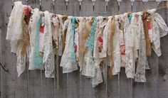 Shabby chic garland, hand tied with tattered tea stained and ivory lace, crepe and burlap and accented with coffee and wine colored roses. Perfect for a boho chic wedding or shabby chic decor! Shabby Chic Garland, Burlap Garland, Ribbon Garland, Fabric Garland, Rag Banner, Banners, Boho Baby Shower, Bridal Shower, Fabric Strips