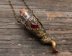 Garnet Necklace Vial Pendant Polymer Clay by MichellePetersenArt