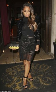 Sheer delight: Christina Milian was sure to put her toned legs on display as she enjoyed a night out in London on Friday London Nightclubs, Hair Today Gone Tomorrow, Lauren London, All Black Looks, Christina Milian, Ethnic Dress, Dressed To Kill, Art Design, Types Of Fashion Styles