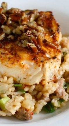 Cajun Halibut with Praline Sauce over Dirty Rice