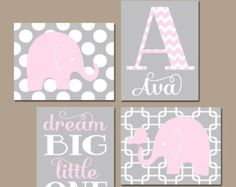 Girl Elephant Nursery Wall Art Canvas or Prints Baby by TRMdesign