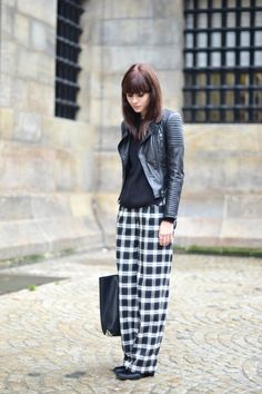 Biker jacket: Zara (similar here) / Rib jumper: ASOS / Wide leg check trousers: ASOS / Ponyhair boots: Choies / Bag: Alexander Wang