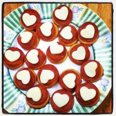 Pepperoni and heart shaped cheese on crackers. Good, easy party food