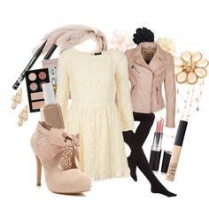 Pale Pink Lace & Flowers with Black - Cream lace dress, blush scarf, blush Oakwood leather jacket, blush booties with bow and lace, black tights, Stila palette, Revlon liquid liner, Nars lipgloss, Rimmel lipstick