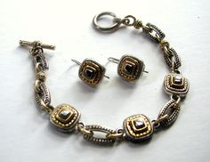 Vintage Liz Claiborne Marcasite Link and Chain Bracelet and Earrings Set Signed LC Gold Silver Bronze Tone Enamel by LionheartGalleries on Etsy