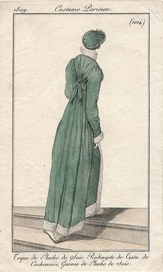 Back of green pelisse, 1809 Costume parisien
