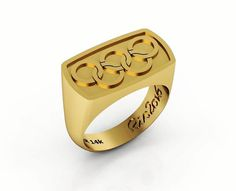 by by Hendesign on Etsy Solid Gold, White Gold, Signet Ring, Ring Designs, Olympics, Gold Jewelry, Rings For Men, Wedding Rings, Rose Gold