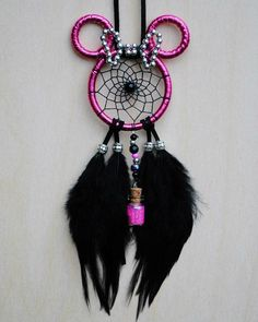 Hot pink Minnie Mouse dreamcatcher