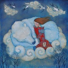 Lucy Campbell, Poetry in the light of the moon . Art And Illustration, Illustrations And Posters, Bear Art, Whimsical Art, Belle Photo, Spirit Animal, Animal Totems, Fantasy Art, Fairy Tales