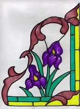 2 faux stained glass Iris corner window clings