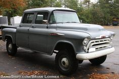 A 1957 one ton Chevy truck that was factory ordered as a crew cab