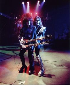Paul Stanley & Ace Frehley during the filming of the 'Hard Luck Woman' promo video. (1976)