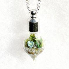 Glass Terrarium Necklace, Blue Necklace on Sterling silver Chain, Miniature Garden Pendant Necklace