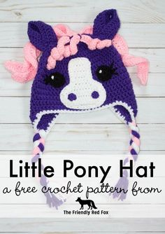 Crochet Baby Hats Free Crochet Little Pony Hat- Comes in three different sizes! - What child doesn't dream of having a pony? Make them this pony hat and they can BE the pony, and stay warm and look cute Crochet Pony, Poney Crochet, Knit Crochet, Double Crochet, Crochet Animal Hats, Crochet Horse, Crochet Kids Hats, Crochet Beanie Hat, Crocheted Hats