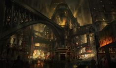 Want to discover art related to dieselpunk? Check out inspiring examples of dieselpunk artwork on DeviantArt, and get inspired by our community of talented artists. Diesel Punk, Fantasy City, Fantasy World, Steampunk City, City Aesthetic, Dark City, Cities, Environmental Art, City Art