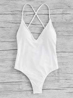 Shop Criss Cross Ruched Detail One Piece Swimwear at ROMWE, discover more fashion styles online. One Piece Swimsuit White, White One Piece, One Piece Swimwear, Bathing Suits For Teens, Cute Bathing Suits, Criss Cross, Ropa Interior Boxers, Summer Suits, Bathing Suits
