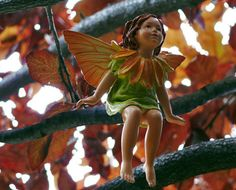 Marigold Fairy sitting in a plum tree watching the fairy garden below.