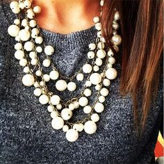 Chunky, layered pearl necklace
