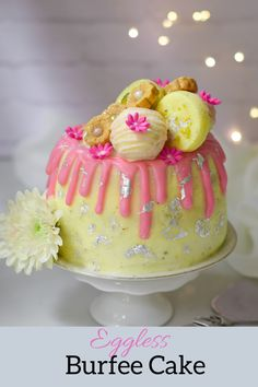 Eggless Cake with all the flavors of burfee decorated with mithai or sweetmeats Eggless Recipes, Eggless Baking, Easy Cookie Recipes, Cake Recipes, Sweet Meat Recipe, Egg Free Cookies, Low Fat Yogurt, Indian Sweets, Little Cakes