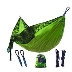 Camping Hammock Double XL  Fun For the Whole Family  Easy Sleeping  Kid Friendly  Perfect for Boyscouts  Accessories Include Parachute Hammocks  2 Rope Straps  2 Carabiners  Portable Pouch ** You can find more details by visiting the image link.