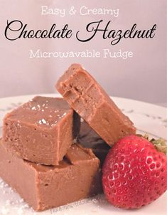 Easy & Creamy Chocolate Hazelnut Fudge made in the microwave; no fluff or marshmallows! Fudge Recipes, Baking Recipes, Fall Recipes, Sweet Recipes, No Bake Desserts, Dessert Recipes, Hazelnut Recipes, Fudge Ingredients, Nutella Spread