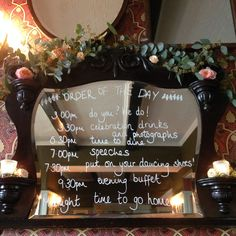 Order of the day written on the mirror at The Battleaxes in Wraxhall.  Styling: www.littleweddinghelper.co.uk