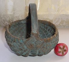 Antique Splint Wood Berry Buttocks Basket Small Old Dry Oxidized Dry Blue Paint       ...~♥~