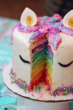 Unicorn rainbow cake birthday party unicorn cake with rainbow layers Rainbow Unicorn Party, Unicorn Themed Birthday Party, Unicorn Birthday Parties, Cake Rainbow, Birthday Ideas, Diy Birthday Cake, Birthday Cakes For Kids, Unicorn Themed Cake
