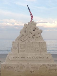 """A photo of the completed centerpiece for the Revere Beach National Sand Sculpting Festival. This year's event benefits the Wounded Warrior Project and the theme is """"Stars and Stripes. Snow Sculptures, Sculpture Art, Metal Sculptures, Abstract Sculpture, Bronze Sculpture, Revere Beach, Wounded Warrior Project, Ice Art, Snow Art"""