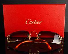 Cartier Sunglasses (Men's Preowned Rimless D Decor Smokey Gradient Mirrored Designer Sun Glasses)