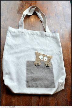 wydziergana skarpetka: Z kotkiem na zakupy