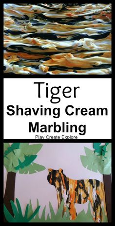 We did this tiger print shaving cream marbling art project/craft  during our Orange week in the Color of the Week Exploration...