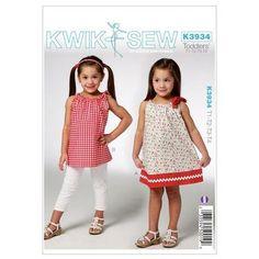 Kwik Sew K3934 Toddlers' Dress & Tunic  1 - 4