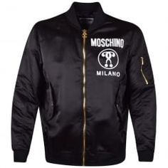 Moschino Black Milano Logo Bomber Jacket. Available now at www.brother2brother.co.uk