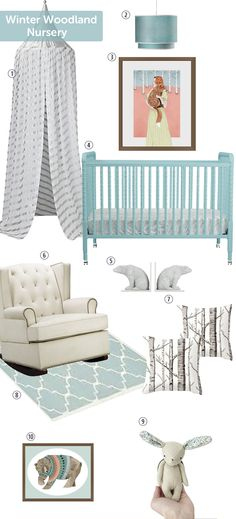 """@boombSnuggle up with your little one in this woodland wonderland! The white backdrop creates a soothing base palette, while the light blue accentsinspired by Barbara Azul's """"Mr Brown"""" and """"Fox and I"""" p..."""