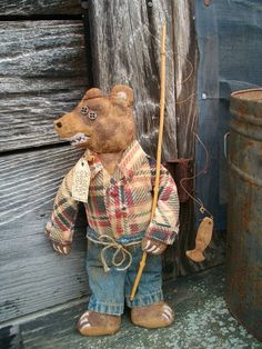Primitive Folk Art Bear with Fishing Pole  by CaneRiverCrafts
