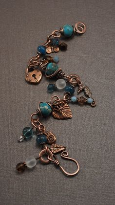 Jasper and Copper Charm Wire Wrapped Bracelet by designsbyduffy, $48.00