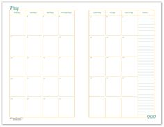 Diy Blank Planner Inserts Monthly Calendar Weekly Planner Daily