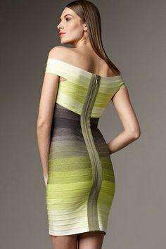 66bdd46532 New Celebrity Bandage Dress Sexy Trendy Slash Neck Gradient Bandage  Backless Evening Party Dress Bandage Dresses