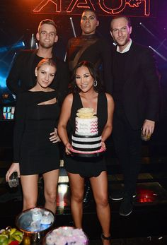 """Rich Kids of Beverly Hills"" starlet Dorothy Wang celebrated her 28th birthday at 1 OAK Nightclub inside The Mirage Hotel & Casino (Pictured: Jonny Drubel, Morgan Stewart, Dorothy Wang, EJ Johnson and Brendan Fitzpatrick – Photo credit: Denise Truscello / WireImage)."