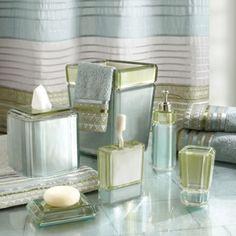 The Barron Aqua Bath Ensemble features handsome aqua and green geom...