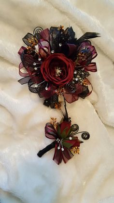 Burgundy maroon and black prom corsage set from Hen House Designs www.henhousedesigns.net