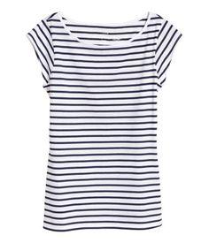 Shirt mit Kappenärmeln | Weiss/Dunkelblau str | Damen | H&M AT