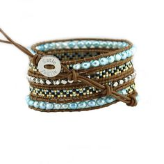 This bracelet features 4mm turquoise freshwater pearls, silver nuggets, and beautifully patterned Miyuki glass seed beads handwoven onto brown leather. Bracelet includes an engraved Katie Joëlle clasp