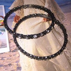 Bracelets set Bracelets set of 2 black with little crystal a beautiful and fancy style Bijou Jewelry Bracelets