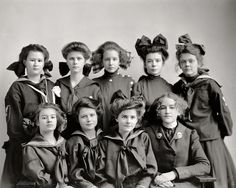 Gunston Hall Preparatory School c.1905.  The hairstyles and bows are enough to stop a girl from smiling, but the two in the front middle look like they could break out in a smile any moment.