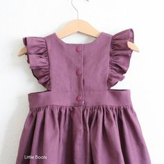 Robe Plum Linen Pinafore – Classic Vintage Boho Baby Toddler Spring Easter Halloween Wedding Matching sister Dark Purple – Rosie's duds - Baby Clothing Toddler Dress, Baby Dress, Toddler Girl, Vintage Girls Dresses, Little Girl Dresses, Toddler Fashion, Kids Fashion, Romper With Skirt, Pinafore Dress